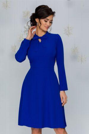 Rochie  albastra cu pliuri la umeri