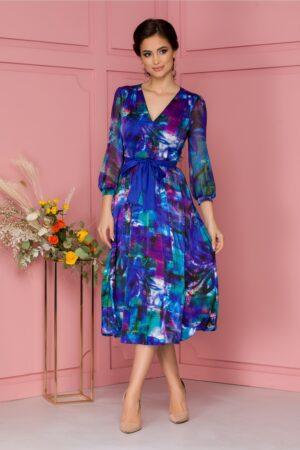 Rochie  albastra din voal satinat cu imprimeu abstract