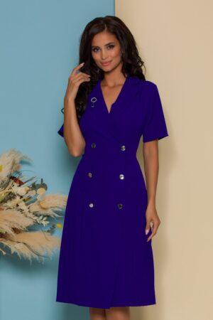 Rochie  albastra stil sacou cu maneci scurte