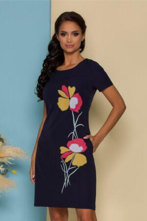 Rochie bleumarin cu imprimeu floral pastelat
