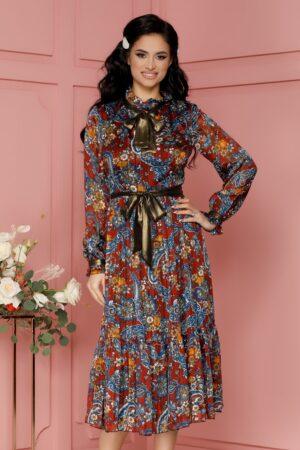 Rochie caramizie cu imprimeu albastru si lurex