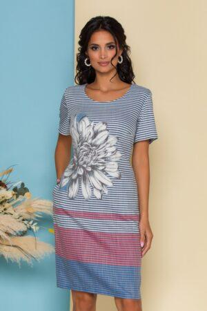 Rochie  cu dungi si imprimeu floral maxi