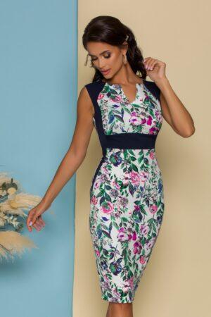 Rochie cu imprimeuri florale colorate