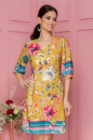 Rochie  galben mustar cu imprimeu floral pastelat