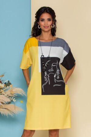 Rochie  galbena cu imprimeu abstract