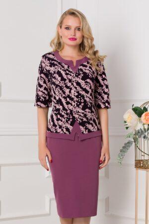 Rochie lila cu imprimeu divers
