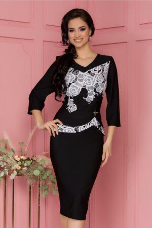 Rochie neagra cu peplum si imprimeu floral alb