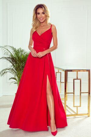 Rochie rosie eleganta lunga cu bretele