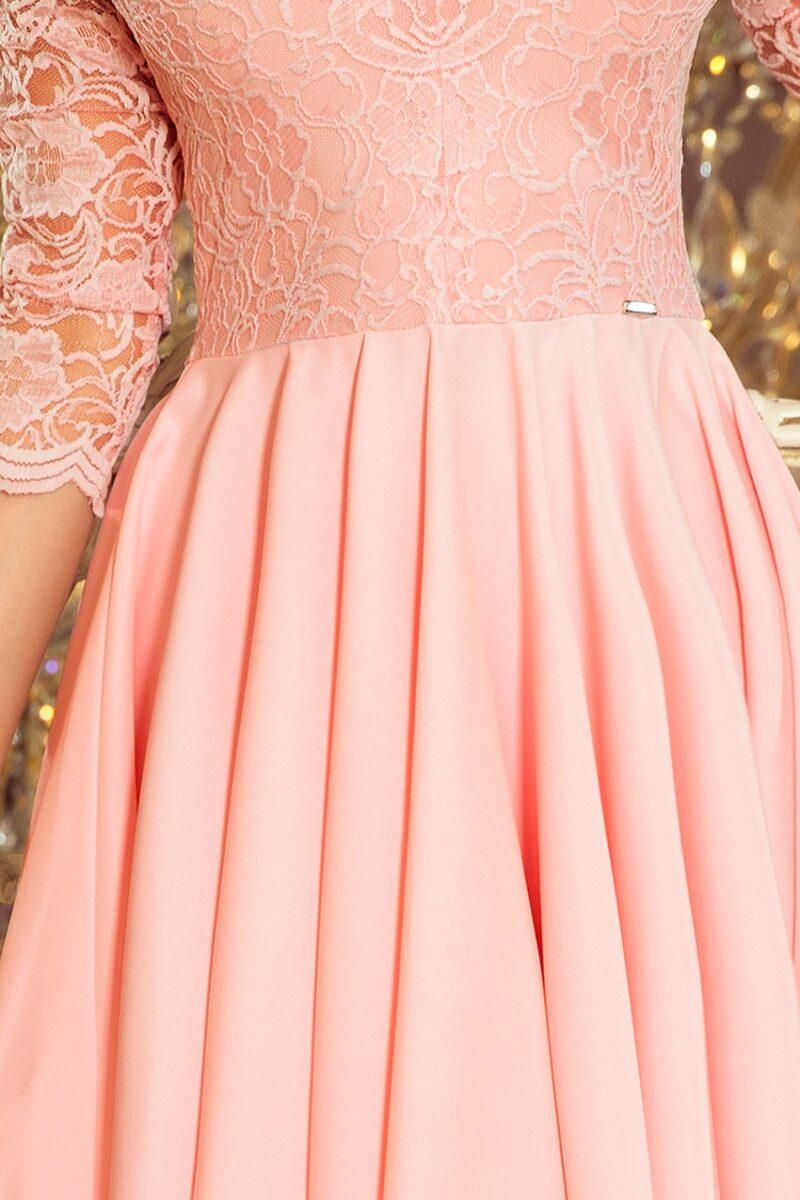 Rochie roz asimetrica cu aplicatii din dantela 5