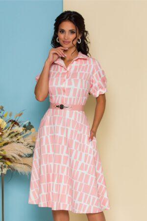 Rochie roz cu imprimeuri geometrice albe