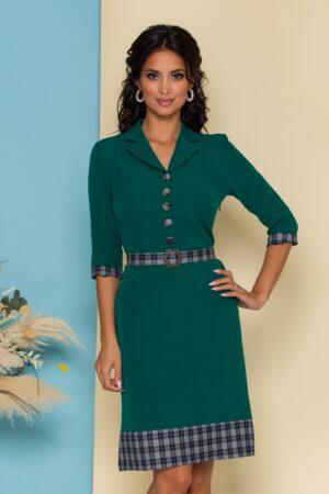 Rochie  verde cu detalii in carouri