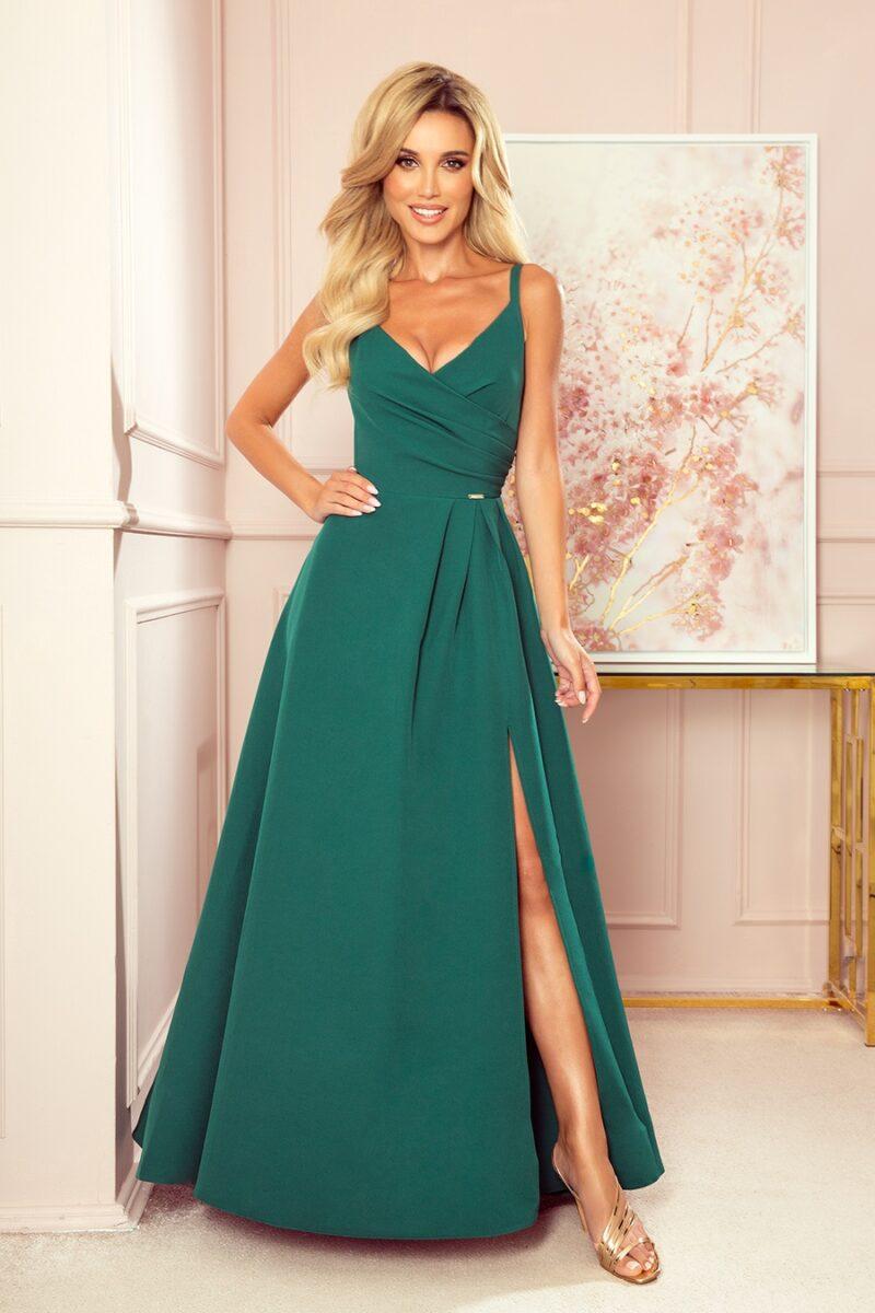 Rochie verde eleganta lunga cu bretele