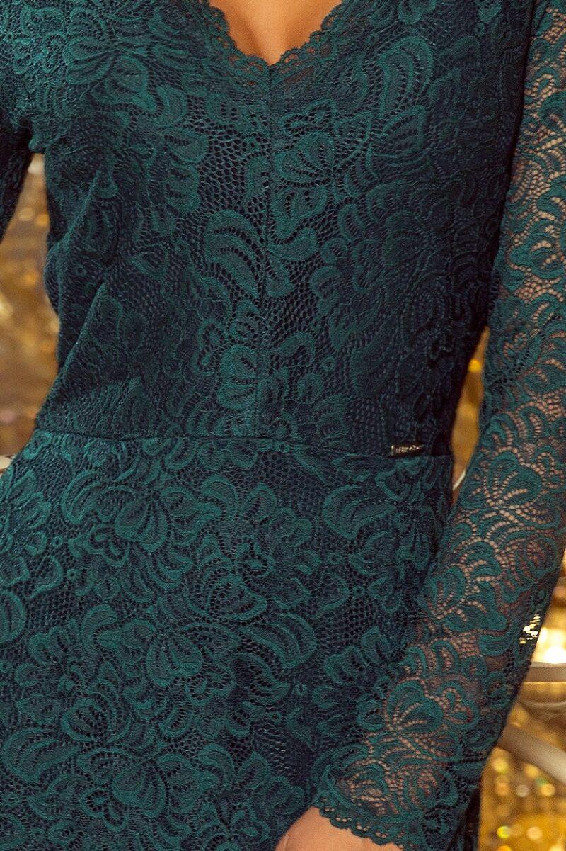 Rochie verde midi cu maneci din dantela 5