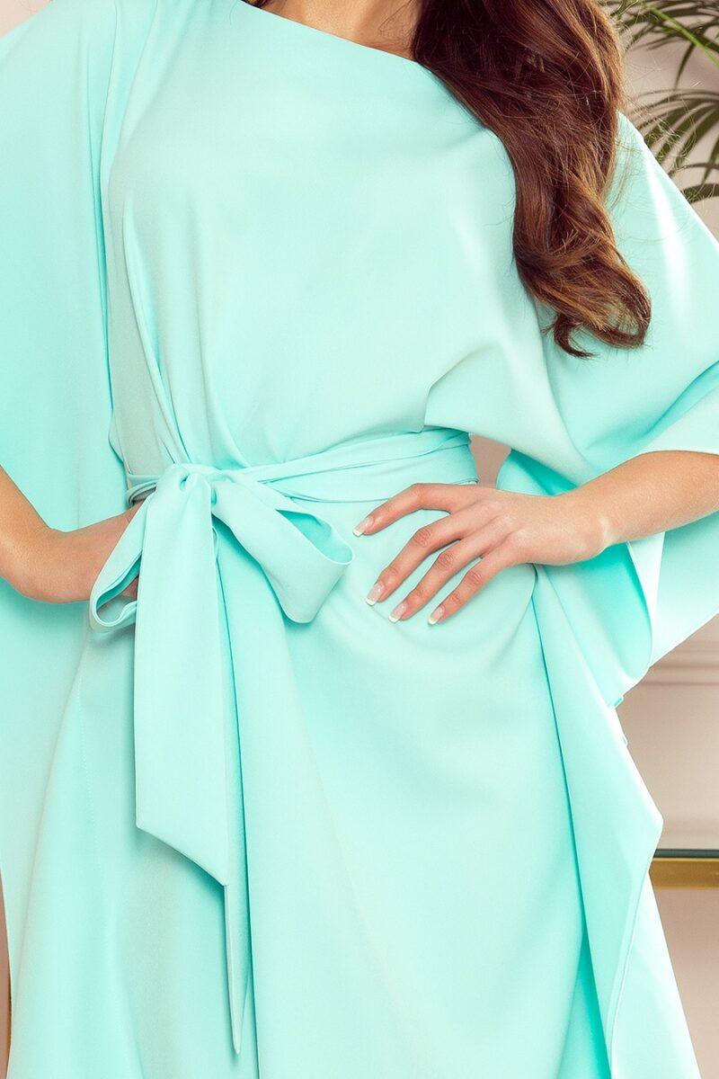 Rochie verde mint de zi cu maneci largi si curea