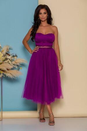Rochie violet din tull cu fundite in talie