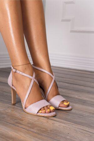 Sandale albe cu insertii roz