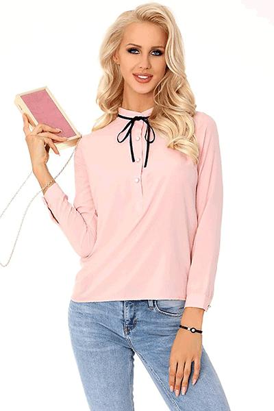bluza roz cu guler inalt