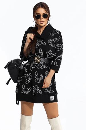 tunica neagra cu imprimeu catei