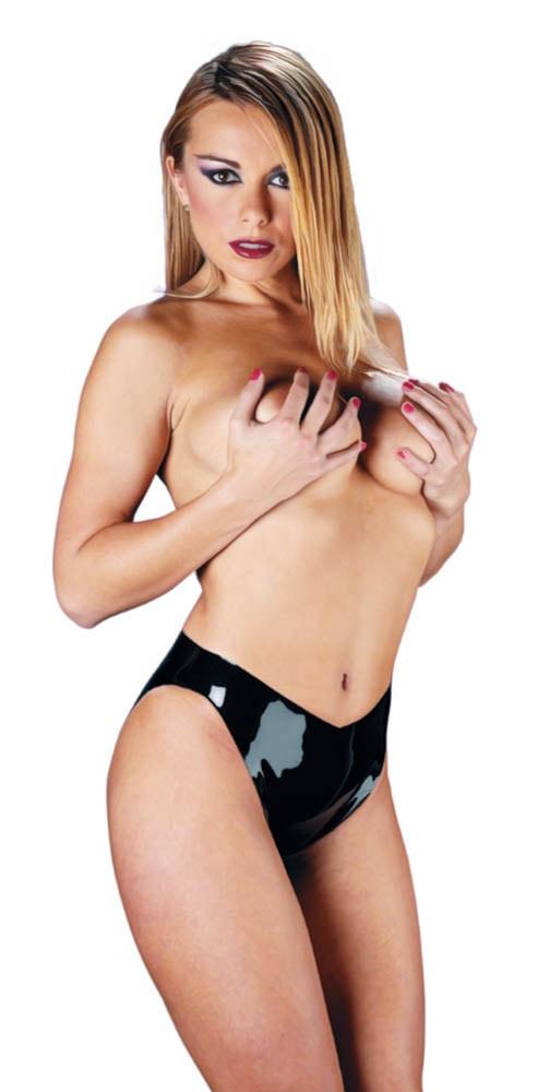 Bikini Latex Ladies Briefs Negru L
