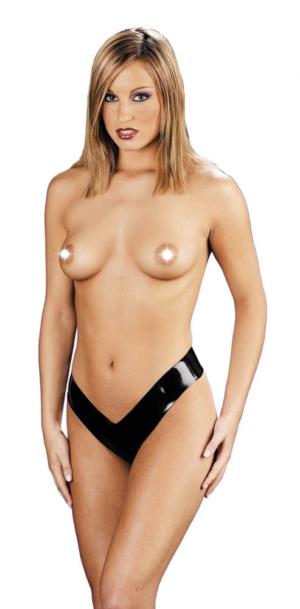 Bikini Latex Ladies G-string Negru S