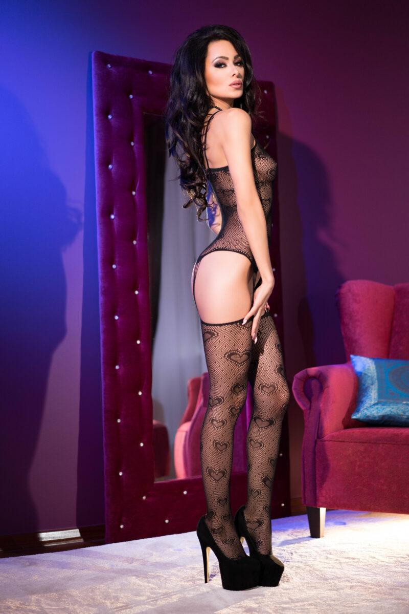 Bodystocking Sexy Cu Dantela Catsuit S-m