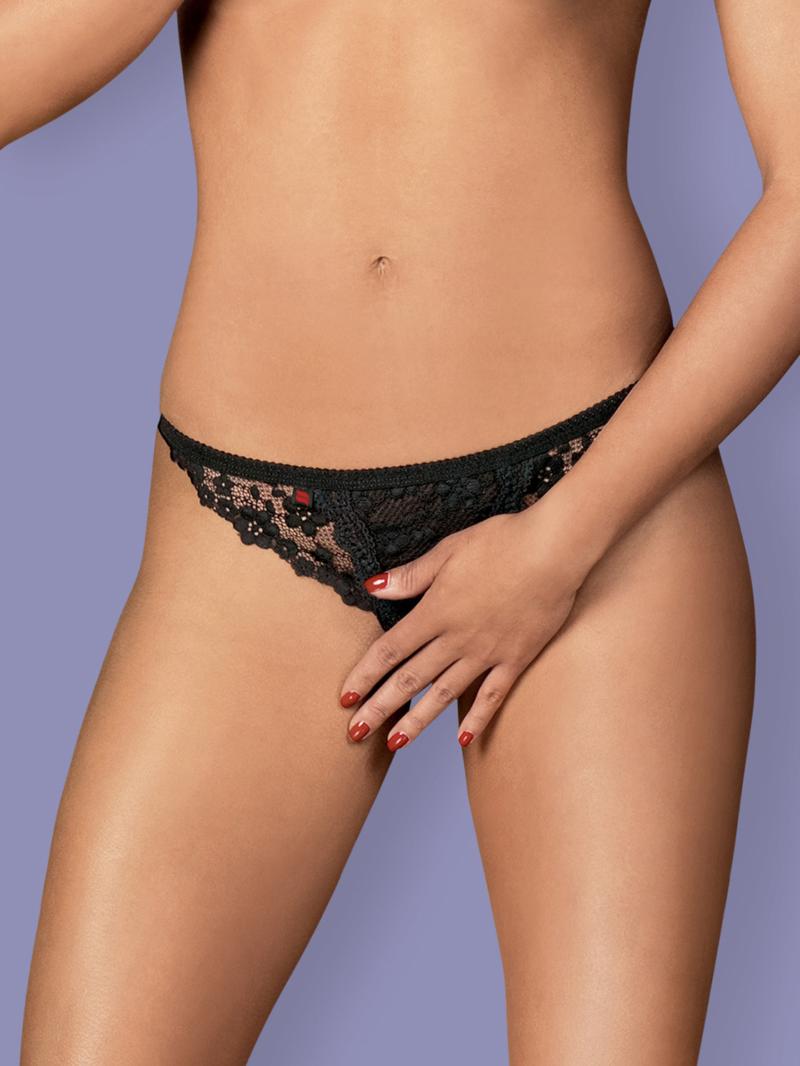 Chilot Sexy Letica Crotchless - Negru L/xl S-m